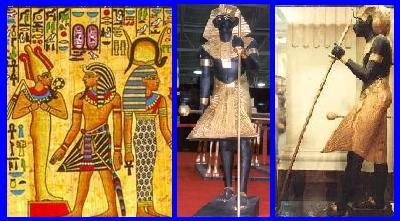Menswear - Aprons | Left:  reproduction papyrus illustrating the side view of a triangular apron or skirt.  Middle:  front view of a triangular apron, as worn by one of Tutankhamun's guardian statues.  Right:  side view of one of Tutankhamun's guardian statues.
